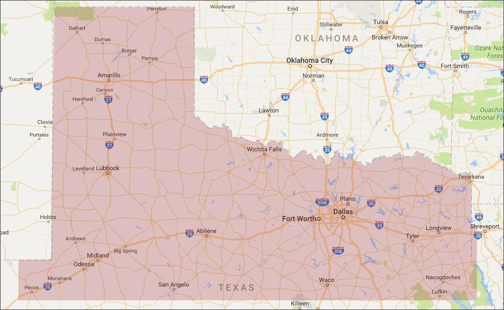 Jim Bryce & Associates Service Area Map